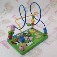 wooden bead toy table viga toys wooden bead maze farm animals baby puzzle table top