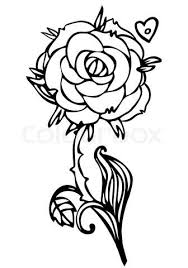 design flower rose drawing black and white line drawing of rose flower stock vector something