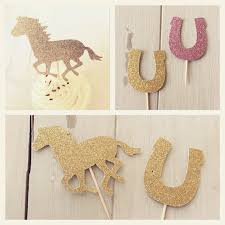 horseshoe party favors glitter equestrian cupcake topper pony