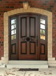 luxury chocolate wooden house entrance door with black handle plus
