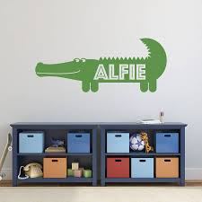 wall art stickers and decals notonthehighstreet com personalised crocodile wall sticker baby s room