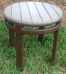 outdoor wood coffee table round faux wood side table florida patio outdoor patio furniture