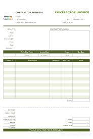 contractor invoices contractor billing format