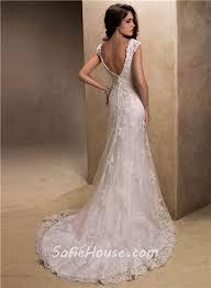 low back wedding dresses slim a line v neck cap sleeve low back lace beaded wedding dress