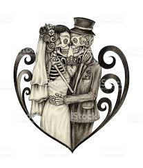 Halloween Skull Drawings Art Skull Wedding Day Of The Dead Stock Vector Art 538777388 Istock