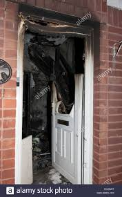 House Front Door House Front Door Sever Fire Burnt Melted Stock Photo Royalty