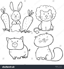 set cute animals contours coloring page stock vector 111244520
