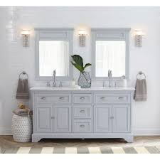 home decorators collection sadie 67 in w vanity in dove grey with