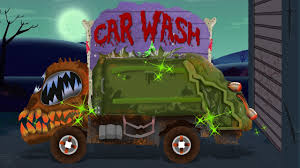 monster truck halloween costume scary garbage truck car wash for kids learning videos youtube