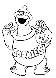 cookie monster eating cookies coloring pages for kids ggz