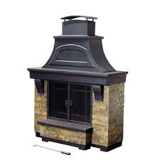 sunjoy jasper 72 in steel and faux stack stone outdoor fire place