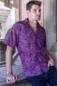purple and magenta cotton batik shirt for men from bali purple
