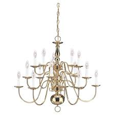 Lighting Chandeliers Traditional Sea Gull Lighting Traditional 15 Light Polished Brass Multi Tier