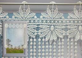 brise bise pour cuisine brise bise macramé écru motif fleurs et perles rideau macramé