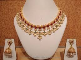 choker necklace with pearls images Light weight pearl choker necklace with jhumka pearl choker jpg