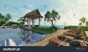 pool pavilion designs sea view swimming pool pavilion modern stock illustration