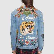 Light Jean Jacket Embroidered Denim Jacket Gucci Women U0027s Denim 433045xr2274413