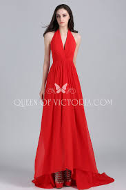 red halter v neck chiffon long train taylor swift open back prom