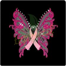 pink ribbon breast cancer butterfly rhinestone heat transfer motif