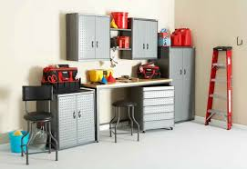 fabulous ideas present fabulous garage storage designoursign cozy black leather stools design feat awesome garage storage with stainless steel cabinets plus open shelf