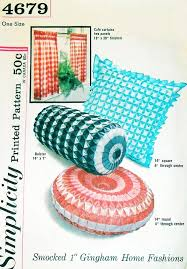 Sewing Cafe Curtains 1960s Smocked 1 Inch Gingham Pillows Cushions Cafe Curtain Pattern