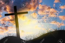 john 3 16 key bible verses on background of cross on hill john