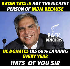Tata Meme - ratan tata is not the richest person of india because back bencher