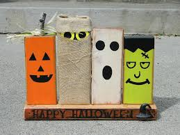 Halloween Decor Ideas Pinterest Primitive Halloween Decoration With Wooden Monsters Pumpkin Ghost