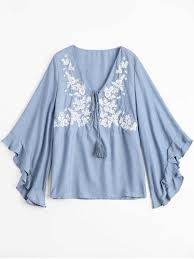 chambray blouse floral embroidered tunic chambray blouse light blue blouses l zaful