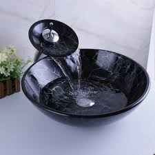 Vessel Sink Waterfall Faucet Black Painting Vessel Sinks Tempered Glass With Waterfall Faucet