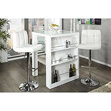 Neofurn ENZO Breakfast Bar White High Gloss Kitchen Bar Table - Kitchen bar table