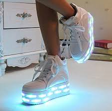 light up shoes size 4 pu leather white high heel led light up platform shoes with