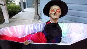 Halloween Decorations Coffin Raising Skeleton In Coffin Youtube