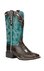 womens size 11 square toe cowboy boots ariat s sidekick chocolate with turquoise square toe