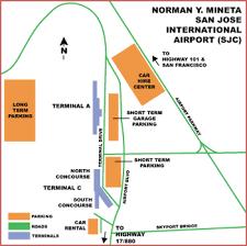 san jose airport on map airguide airports san jose norman y mineta international