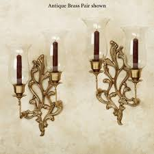Brass Sconces Concetta Antique Brass Double Wall Sconce Pair