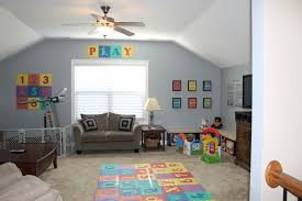 delightful play room design style for kids comes with wall painted