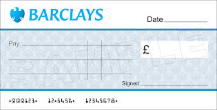 large blank barclays bank cheque for charity presentation