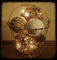 basket lighted homespun and grapevine arrangement
