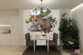 mural 3d effect brick wall and dinosaur