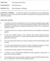 chief engineer job description sample 9 examples in word pdf