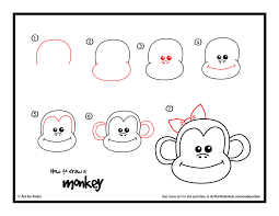 how to draw a monkey art for kids hub free printable