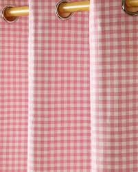 Pink Tartan Curtains Cotton Gingham Check Pink Ready Made Eyelet Curtains Homescapes