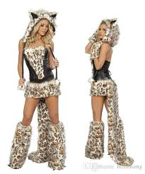 Fur Halloween Costumes Wholesale Leopard Cat Suits Wolf Costumes Tail