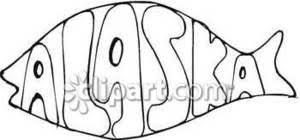 and white line drawing of a fish with the word alaska inside in
