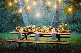 outdoor hanging lights in tree and table full with