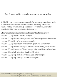 top 8 internship coordinator resume samples 1 638 jpg cb u003d1431188544