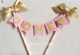 Cake Decorations For 1st Birthday Aliexpress Com Buy Custom Baby Shower Cake Buntings Pink Gold