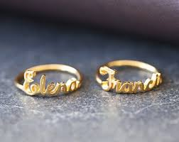 name rings for gold name ring etsy