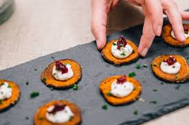 thanksgiving sf sweet potato crisps with chive creme fraiche and cranberries the